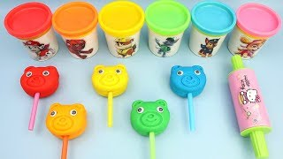 5 Colors Baby Bear PlayDoh Lollipop | PJ Mask Peppa Pig Surprise Toy Eggs + Yes Yes Vegetables Song