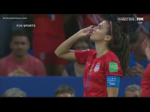 Alex Morgan sips tea after Team USA knocks England out of the World Cup