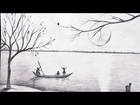 Very simple landscape with pencil shading - YouTube
