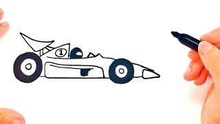 Cómo dibujar un Coche de Carreras paso a paso   Dibujo fácil de Coche de Carreras
