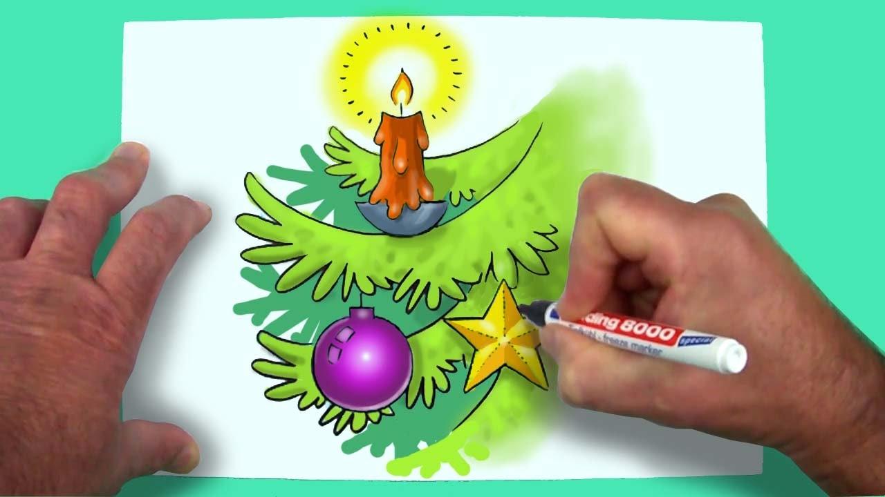Wie Zeichnet Man Ein Weihnachtsmotiv Zeichnen Für Kinder Youtube