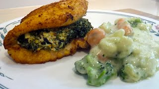 """breaded"" Chicken Stuffed With Spinach, Feta & Cream Cheese (low Carb)"