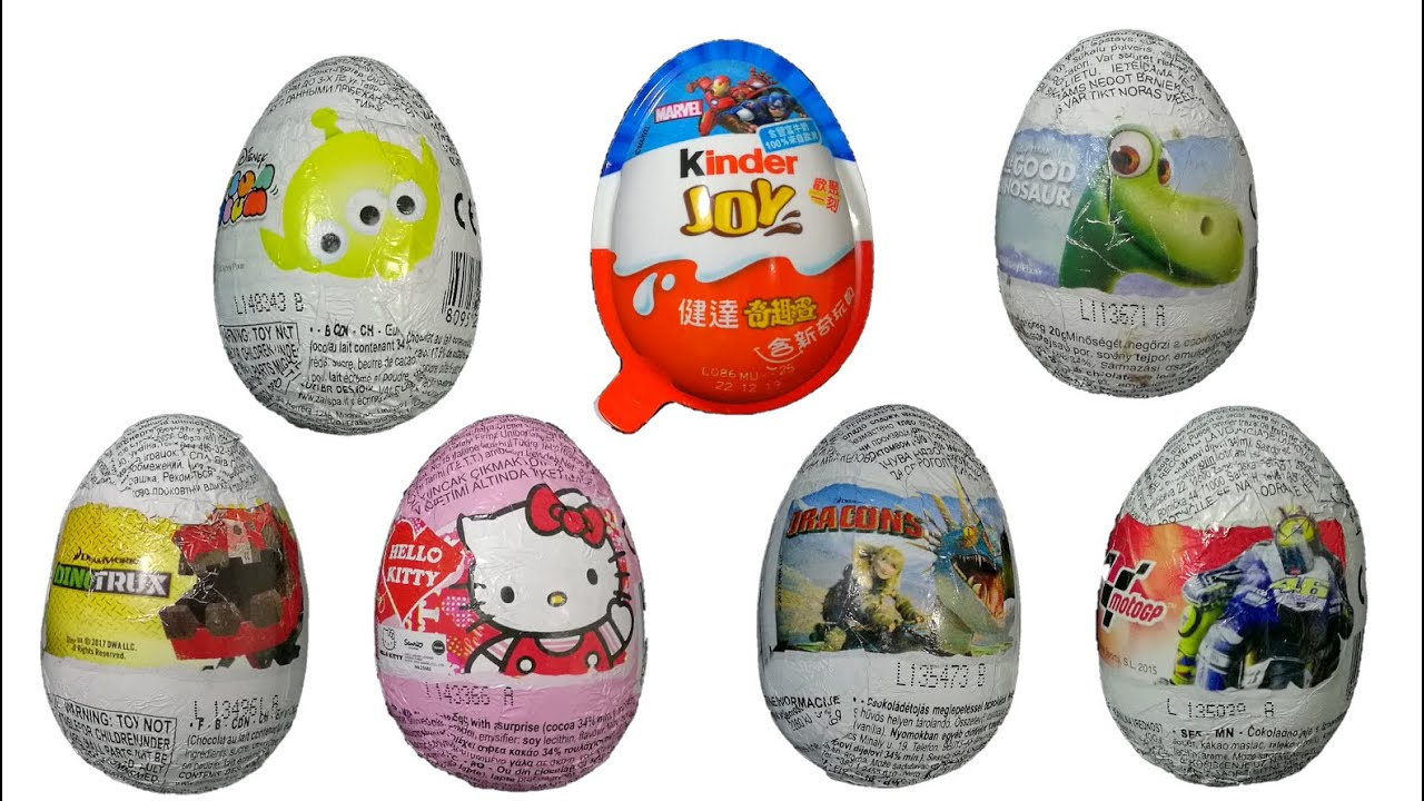 kinder surprise egg, Dinotrux, Dragons, Tsum Tsum, The Good Dinosaur, Hello Kitty, Marvel, MotoGP