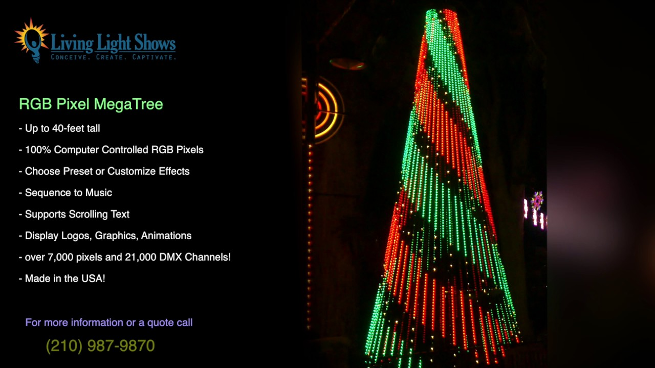 Living Light Shows Commercial Outdoor Animated Rgb Led Pixel Christmas Mega Tree Promo