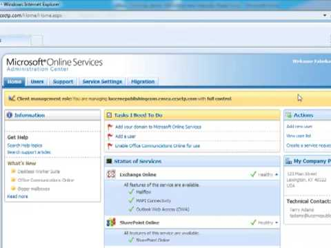 Microsoft Online Services Partner Administration Center -- Admin on Behalf