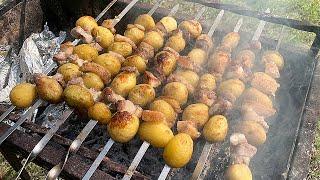 С такои картошкои и мяса не надо КАРТОФЕЛЬ НА МАНГАЛЕ вкусныи рецепт