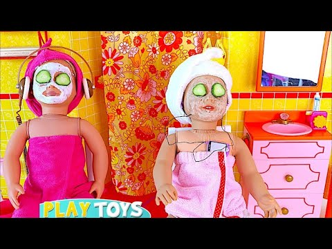 Thumbnail: Play AG Doll day spa in doll bathroom & bedroom w/ doll bunk bed, dress up closet in baby dollhouse