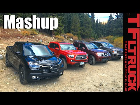 Nissan Frontier Vs Toyota Tacoma >> 2017 Honda Ridgeline vs Toyota Tacoma vs GMC Canyon vs Nissan Frontier Mega Mashup Review - YouTube
