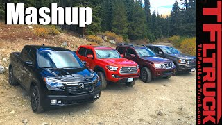 2017 Honda Ridgeline Vs Toyota Tacoma Vs GMC Canyon Vs Nissan Frontier Mega Mashup Review