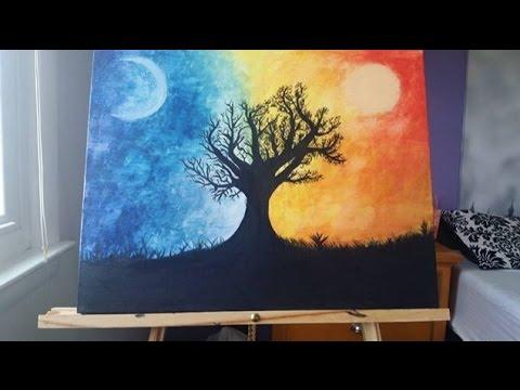 Dark And Light Tree Painting