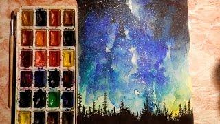 Как научиться рисовать: УРОК 6. Ночь, звездное небо (акварель)(Подписывайтесь на мой канал, если вы интересуетесь искусством! Канал Fun Fantasy https://www.youtube.com/channel/UCoRhOIBr249nDcWrHbclmDQ..., 2016-07-18T21:42:53.000Z)