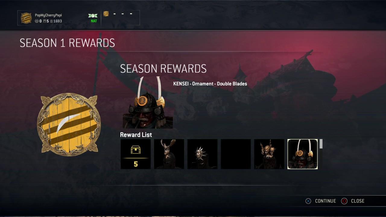 For honor season one rewards