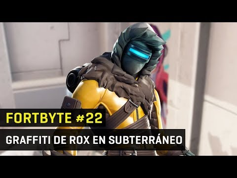 Fortbyte 22 en Fortnite - Graffiti con skin de Rox en paso subterráneo