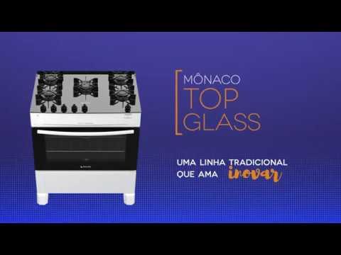 Fogão Atlas - Mônaco Top Glass - Branco e Preto