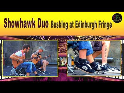 The Showhawk Duo Busking Edinburgh Fringe 2014