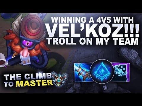 WINNING A 4V5 AS VEL'KOZ! - Climb to Master | League of Legends thumbnail