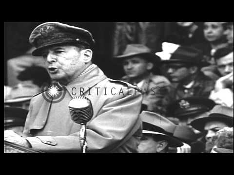US General of the Army, Douglas MacArthur, criticizes US policy in Korea and at h...HD Stock Footage