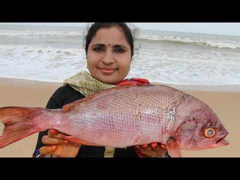 Sea Bass Fish Pieces Recipe Cooking At Ocean Beach | South Indian Fish Curry Recipe In My Village