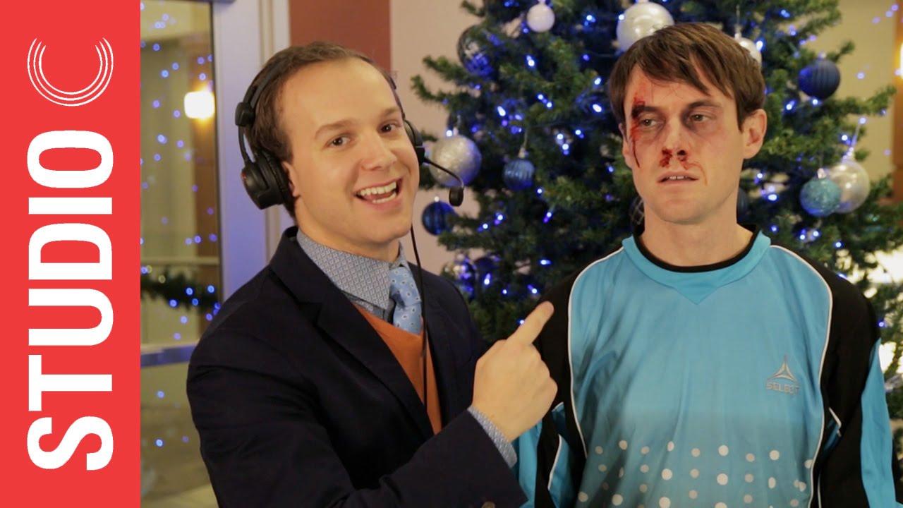 Studio C Christmas.Goalkeeper Scott Sterling Gets A Christmas Present
