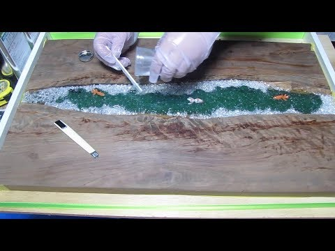 【#5】Making an Epoxy Resin and Wood Art Tee Table - Japanese koi & Goldfish -