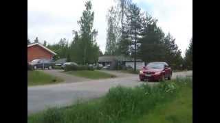 IHL72 Финляндия. Смелый заяц в центре финской деревни.