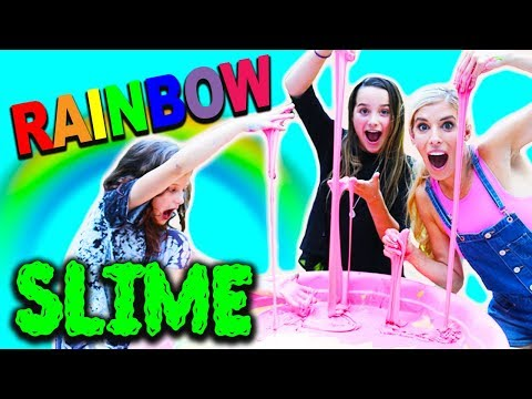 Giant Rainbow Slime with Rebecca Zamolo and Hayley LeBlanc | Annie LeBlanc