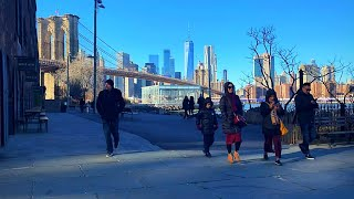 Walking the streets around the DUMBO, Brooklyn Bridge Park in New York City