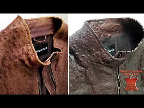 Покраска кожаной куртки Обновление и реставрация кожи одежды страус
