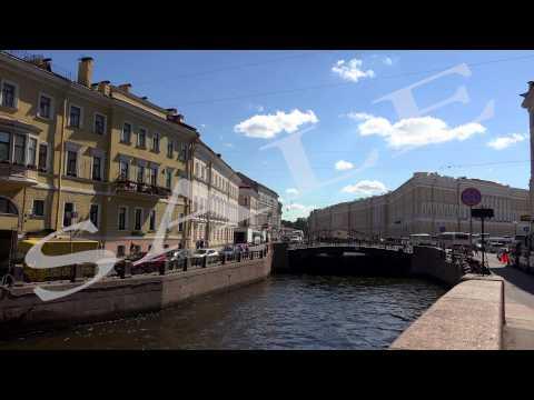 The Moika river embankment. Saint-Petersburg. 4K.