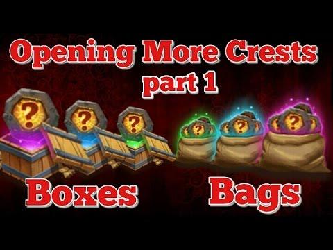 Castle Clash Opening More Crest Bags/Boxes!! Part 1!