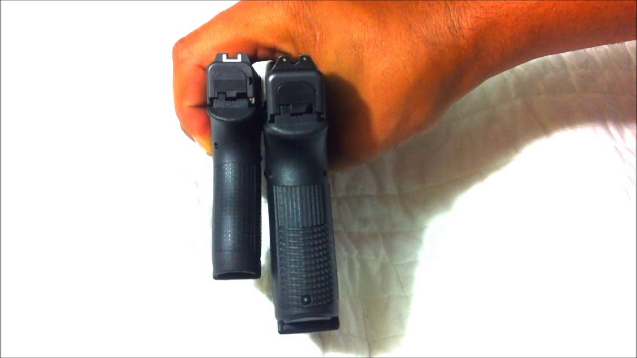 Glock 42 Size Comparison To The Glock 19 - YouTube