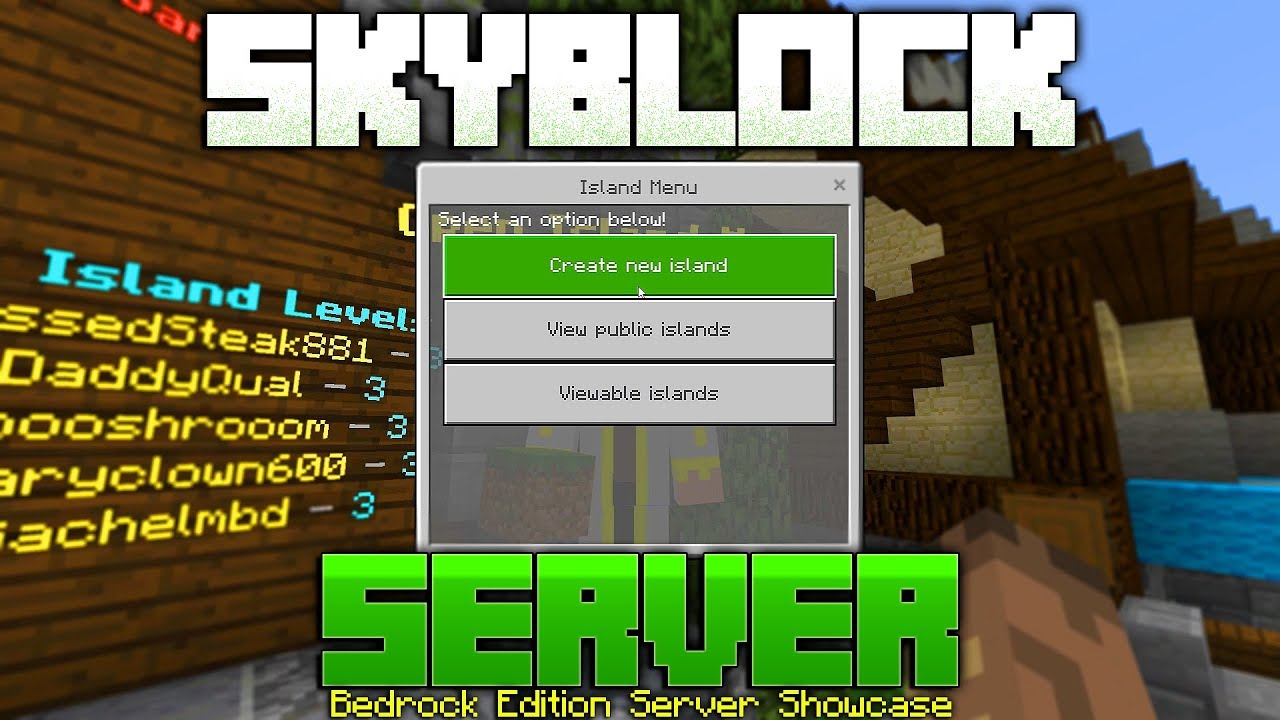 New Skyblock Server On The Bedrock Edition Of Minecraft Avengetech Youtube
