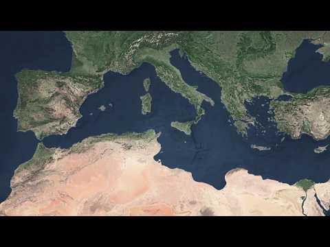 Zanclean Flood of the Mediterranean in Sicily - computer animation