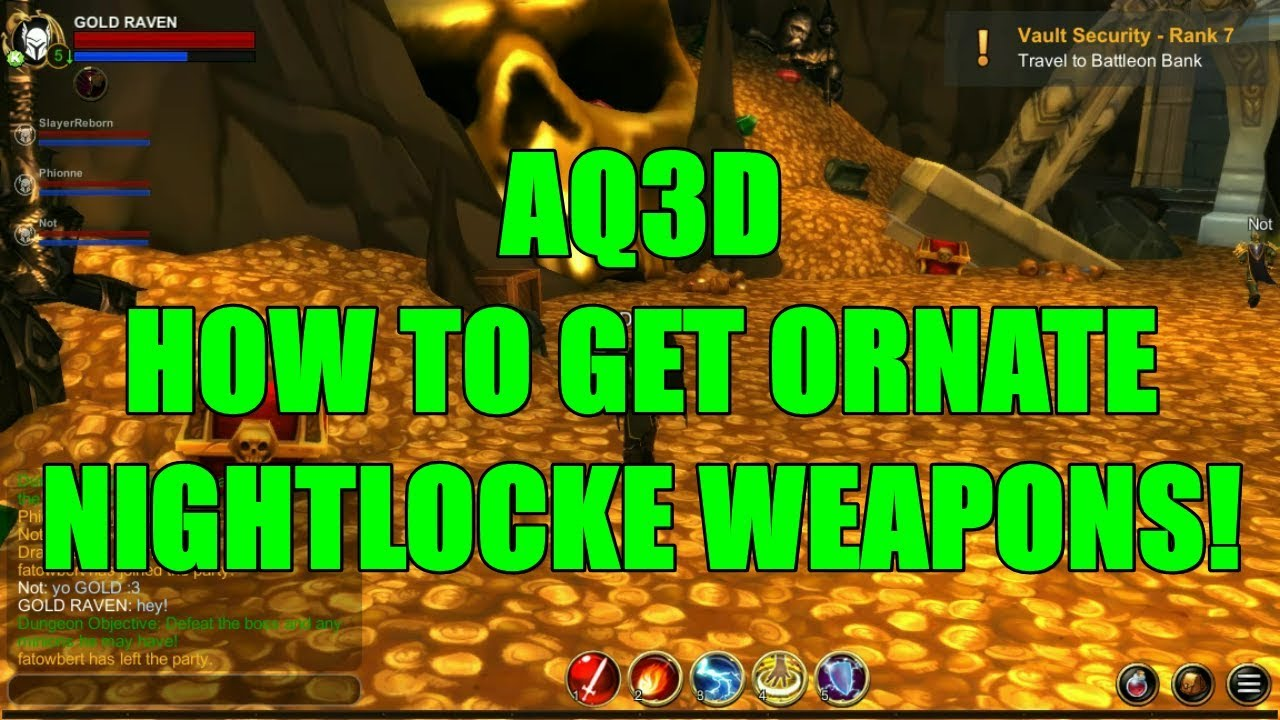 AQ3D How To Get ORNATE Nightlocke Weapons! AdventureQuest 3D