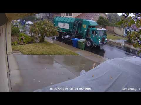 It Came From The Web - Garbage Truck Eats Garbage Can Then Drives Off