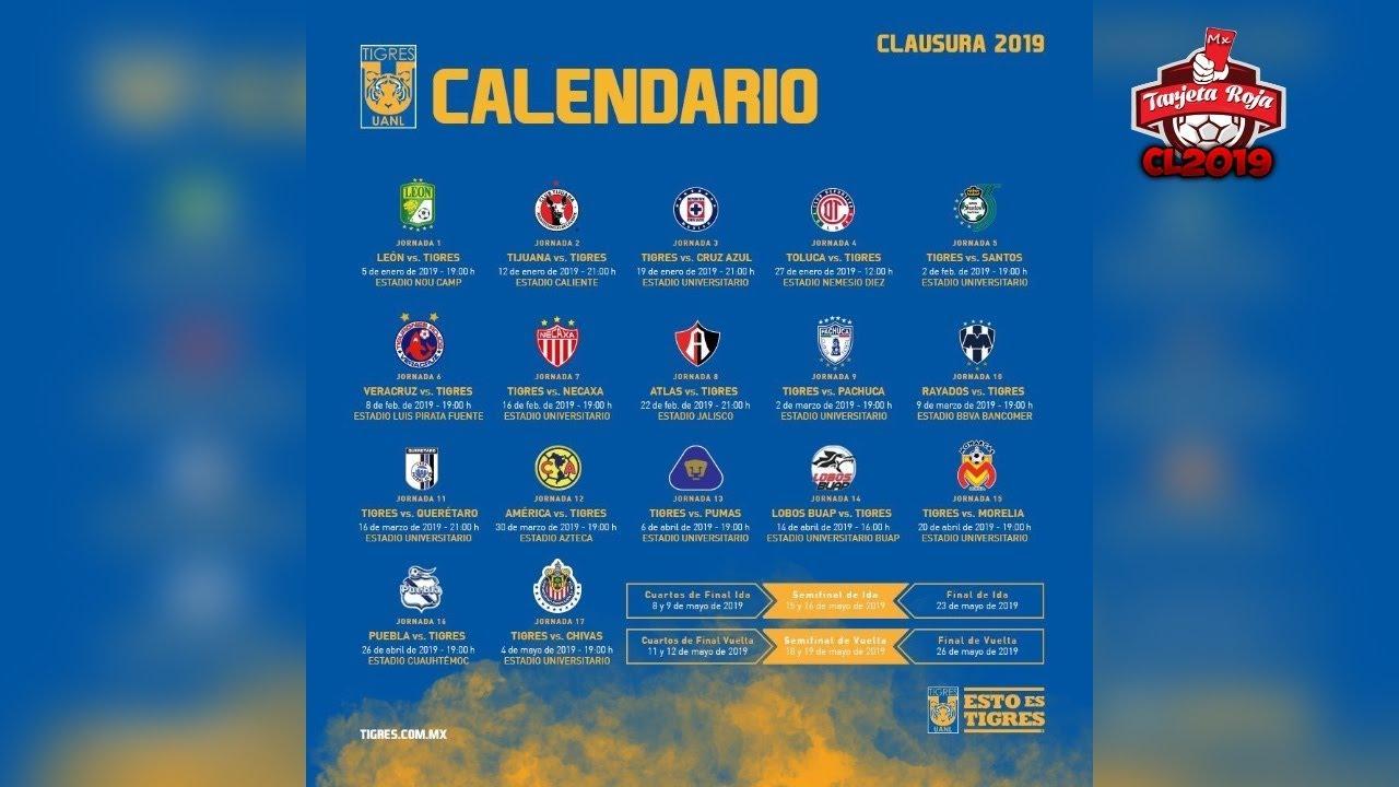 Liga Bbva Calendario 2019.Tigres Uanl Calendario Oficial Clausura 2019 Liga Mx