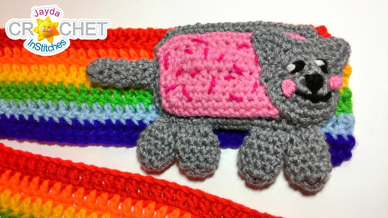 Rainbow Nyan Cat Scarf Crochet Pattern - How to Change Colours - YouTube