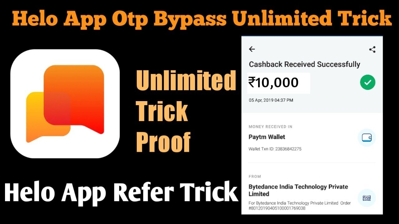 Helo App Otp Bypass Unlimited Trick!! Live Proof ₹10,000 Added !!