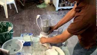 Expert making a small batch of paperclay / paper clay in a kitchen food blender