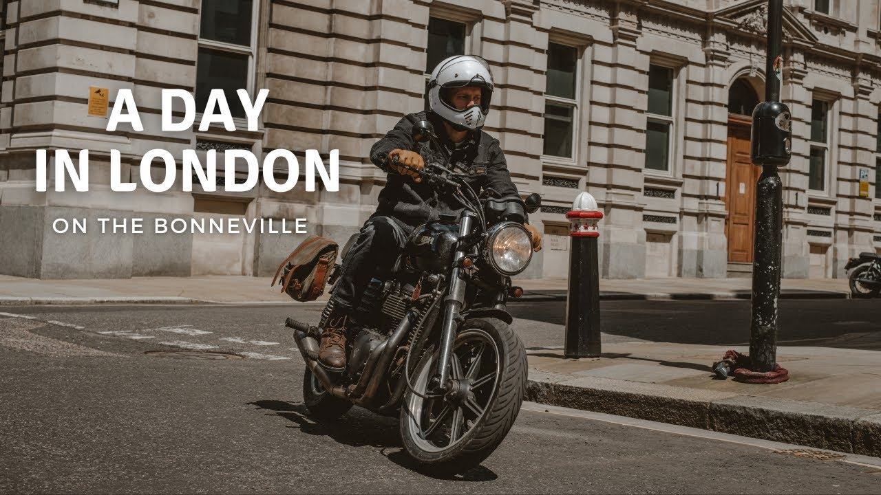 A Day in London by Motorcycle.  Riding around the City, a Coffee Stop and Filtering Through Traffic