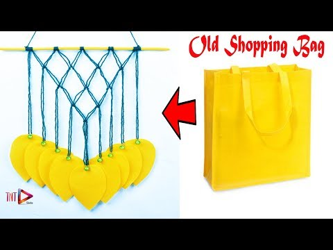 DIY Shopping Bag Leaf Wall Hanging Tutorial | Woolen Wall Decoration Craft | Waste Reuse Idea