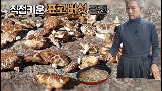 표고 굴전  직접기른 표고버섯 따서 굴전 만들기