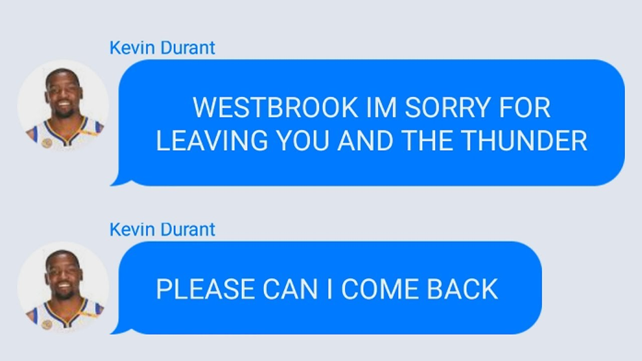 634ef622ab0 Kevin Durant Texting Russell Westbrook After Paul George Trade To Thunder