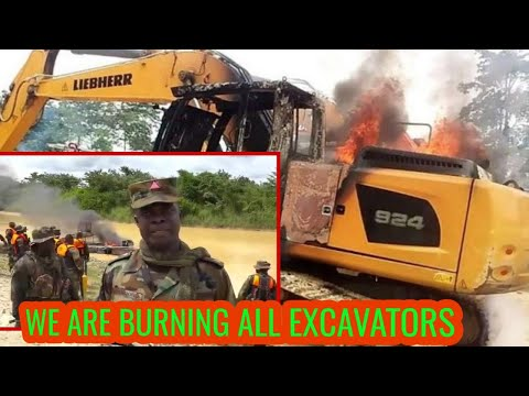 WOW! Ghana Soldiers are Burning All Chinese EXCAVATORS Used for ILLEGAL MINING (GALAMSEY )