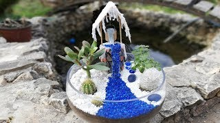DIY Terrarium with Fairy well and hot glue waterfall / money tree and tree of love for perfect life