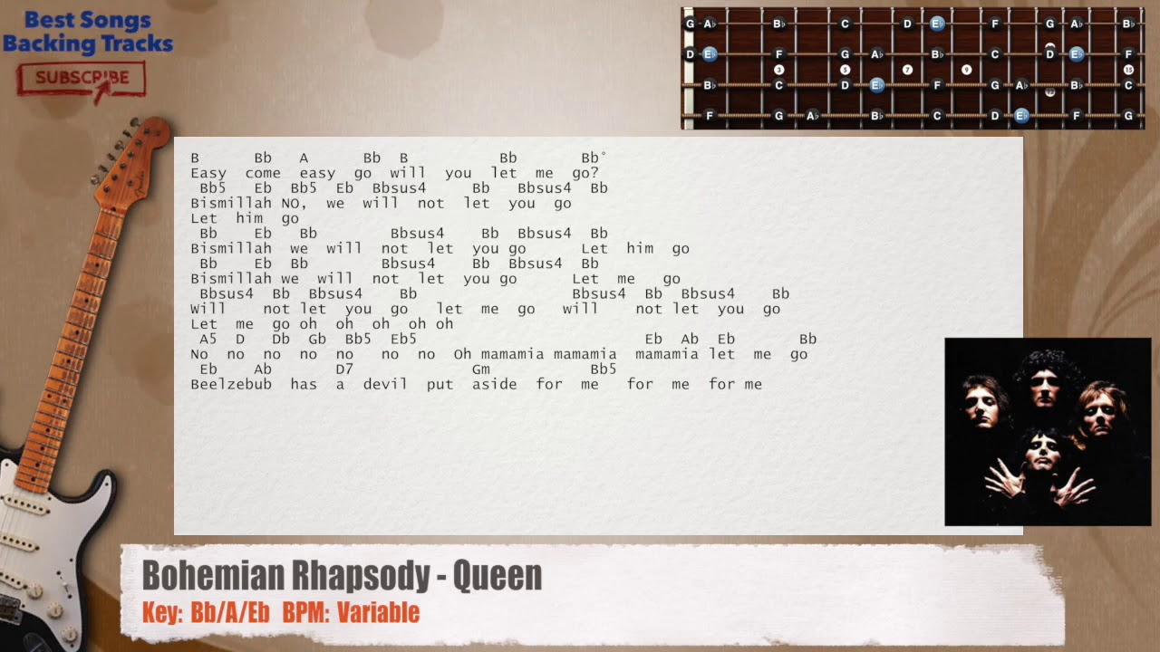 Bohemian Rhapsody Queen Guitar Backing Track With Chords And