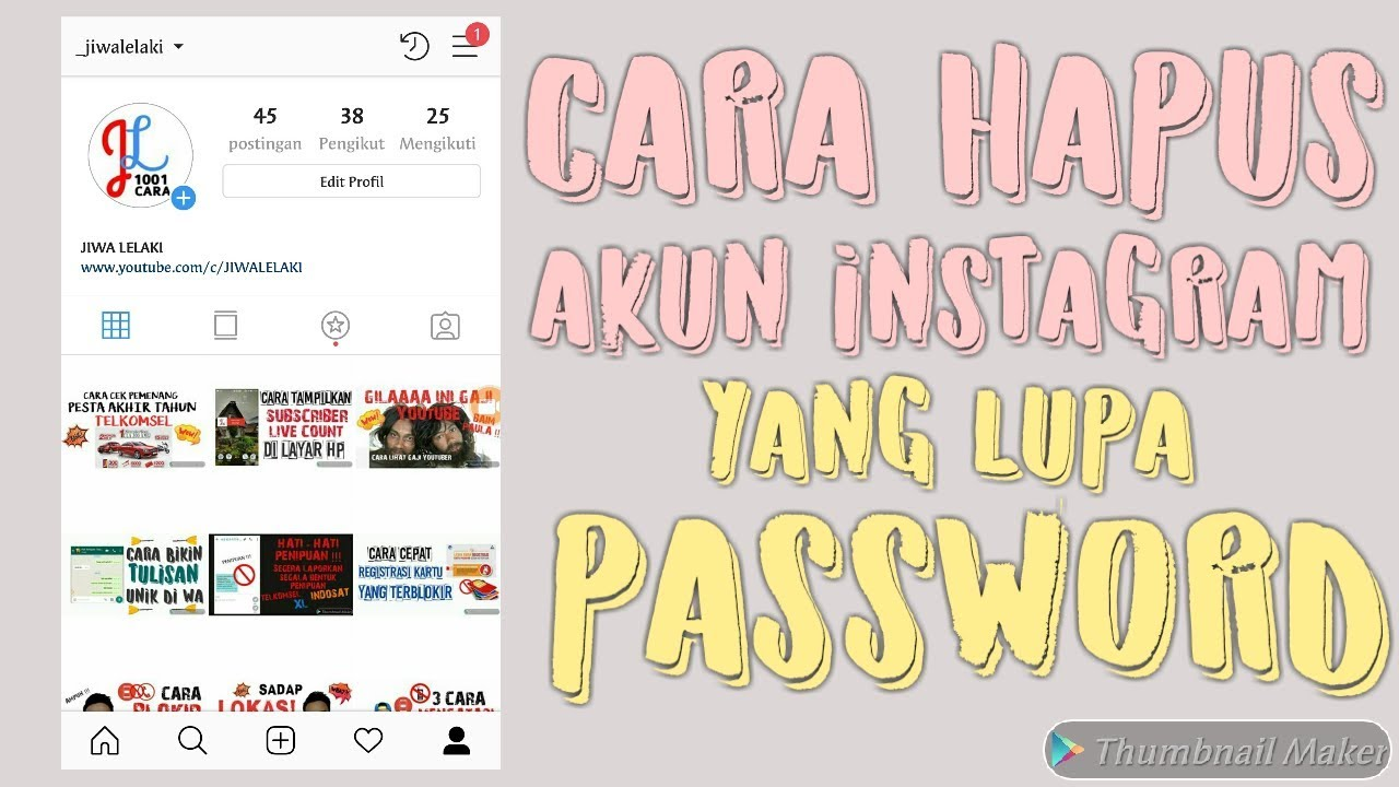 Cara Menghapus Akun Instagram Lupa Password Youtube