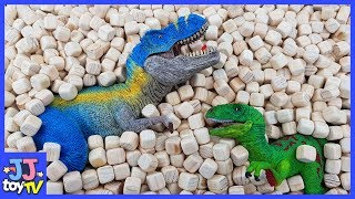 Learn Dinosaurs Names!  Dinosaurs Hidden And Seek In Wood Cubes For Children [Jjtoy Tv]