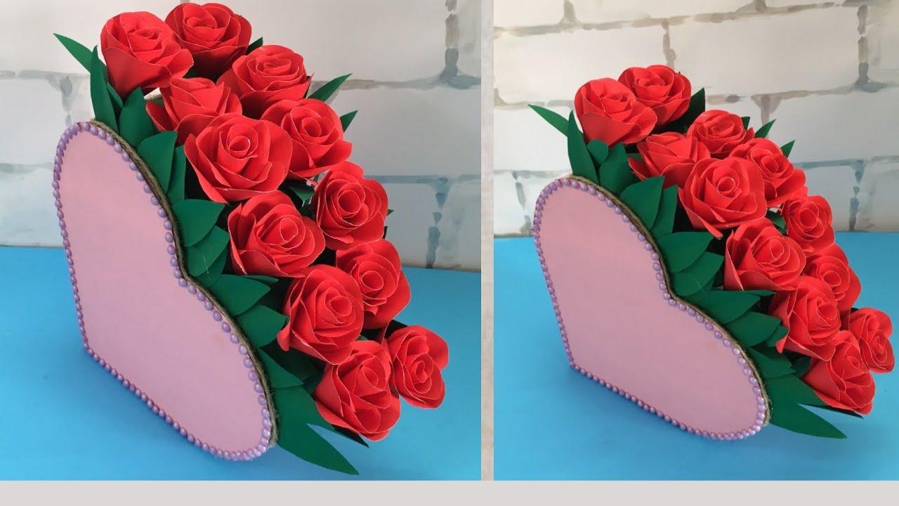 DIY Heart shaped Flower Vase | How to make paper flower vase