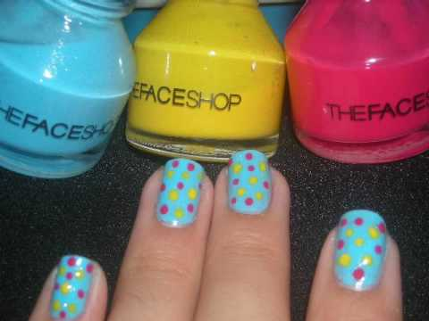 Nail design tutorial blue with yellow and pink dots youtube prinsesfo Choice Image